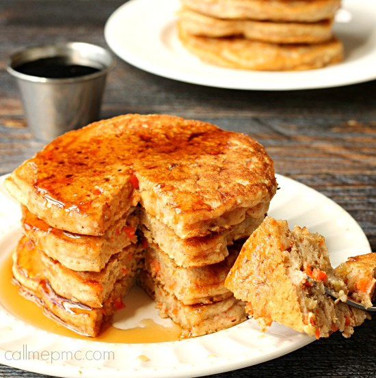 Carrot Cake Pancakes via callmepmc.com delicious, easy. An excuse to have carrot cake for breakfast