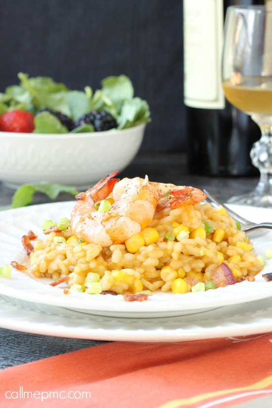 Sweet Corn Bacon Shrimp Risotto Sweet Corn Risotto with Shrimp - Sweet corn adds a nice crunch to creamy risotto, it's topped with sautéed shrimp and salty bacon for a scrumptious dinner.