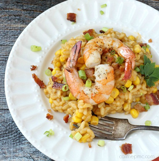 Sweet Corn Bacon Shrimp Risotto