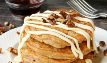 Whole Wheat Banana Pancakes with Cream Cheese Glaze