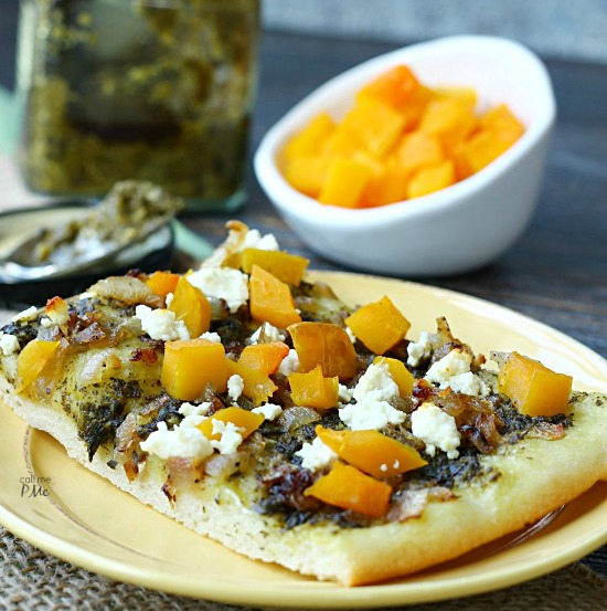 Caramelized Onion Butternut Squash Pesto Pizza Recipe is full of roasted butternut squash, slightly sweet onions and garden fresh pesto. I'm sure you'll agree this is a winning flavor combination.