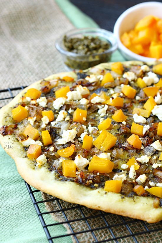 Caramelized Onion Butternut Squash Pesto Pizza Recipe is full of roasted butternut squash, slightly sweet onions and garden fresh pesto.