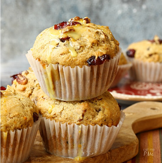 Dried Cranberry Orange Muffins via callmepmc.com full of dried cranberries and pecans with hints of orange and cinnamon.