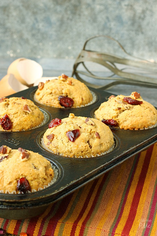 Moist and full of fall flavors, these Dried Cranberry Orange Muffins are full of tart cranberries, zesty orange and toasted pecans