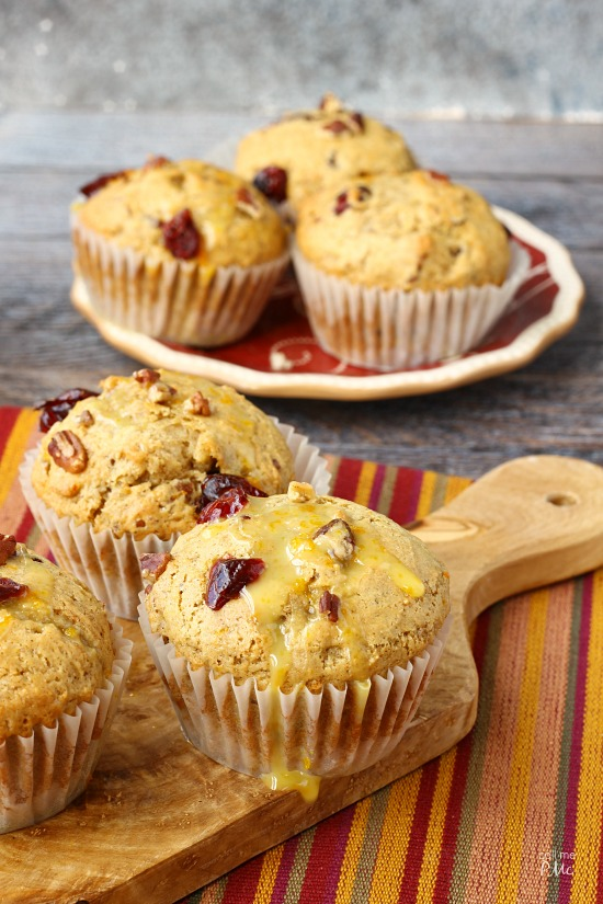 Dried Cranberry Orange Muffins via callmepmc.com moist, flavorful, fluffy and chock full of cranberries and pecans