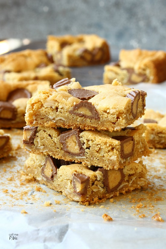 Peanut Butter Cup Blondies. If you like peanut butter my Peanut Butter Cup Blondies are the dessert for you! I doubled your pleasure with peanut butter in the batter and in the candies. This is one tasty treat!