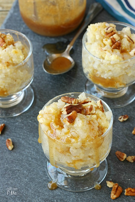 Old Fashion Rice Pudding with Salted Caramel and Toasted Pecans