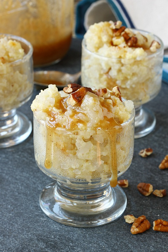 Old Fashioned Rice Pudding with Salted Caramel and Toasted Pecans via callmepmc.com