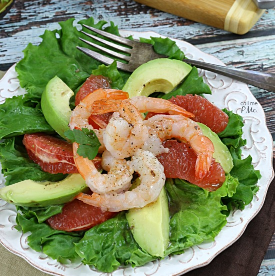 Grapefruit Avocado Shrimp Salad - making this unique salad recipe from callmepmc.com today