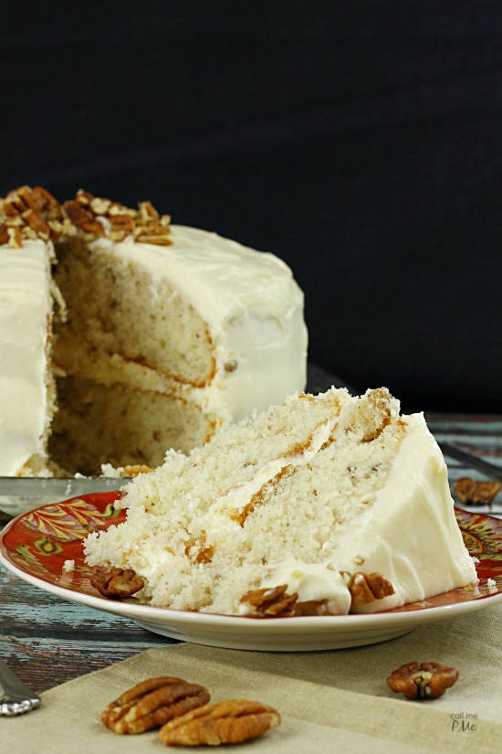 IItalian Cream Cake with Buttercream Frosting via callmepmc.com is full of coconut and pecans and smothered in buttercream frosting. This classic recipe is the creme dela creme of stacked layer cakes.