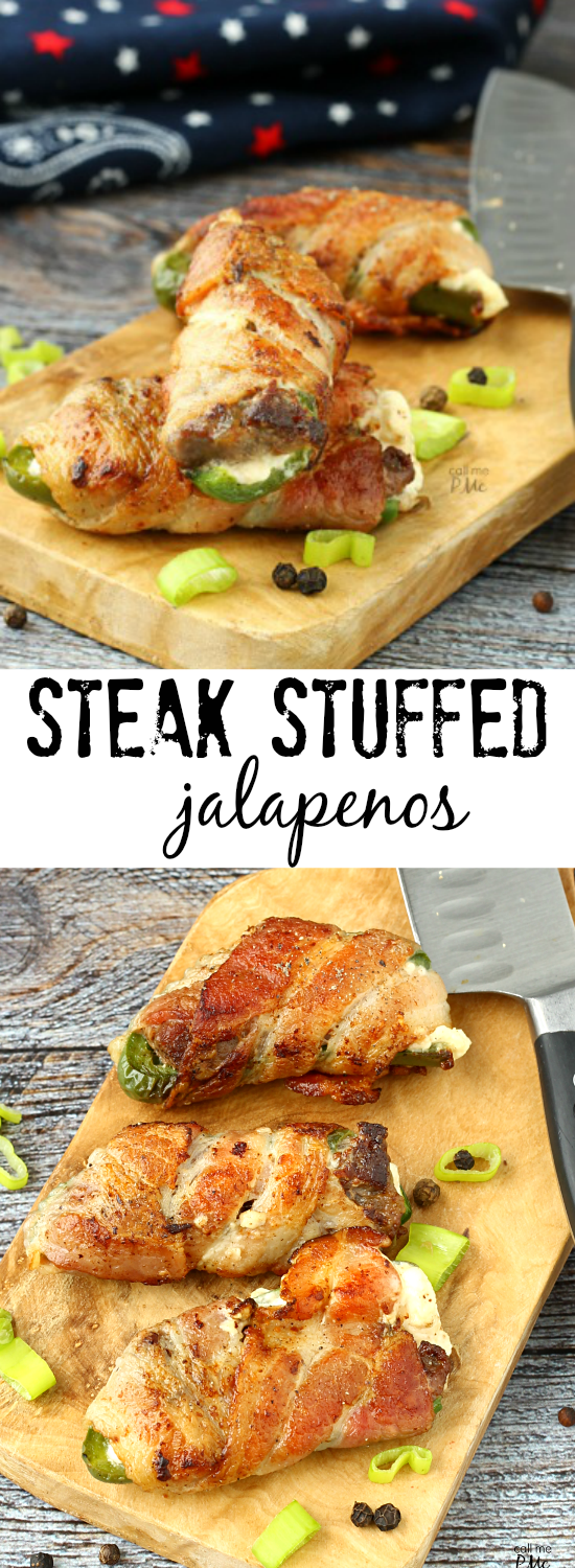 A simple filling of steak and cream cheese make these Steak Stuffed Jalapenos wrapped in bacon a popular appetizer.