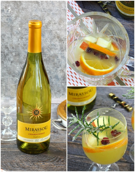 White Sangria Sparkler. Mirassou chardonnay kicks up this white wine sangria |content for 21+ #MirassouHoliday AD