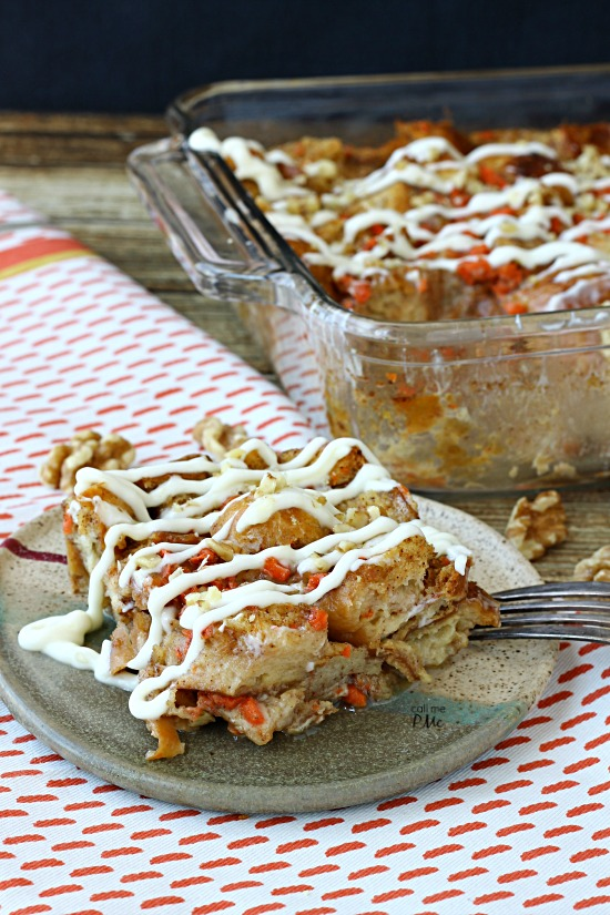 Cream Cheese Glazed Carrot Cake Bread Pudding Recipe