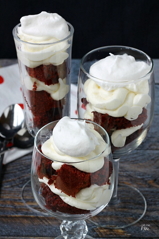 Red Velvet Parfaits Recipe turns the classic favorite into a show-stopping presentation for entertaining. #dessert #cake #parfait #trifle #redvelvet #recipes via @pmctunejones
