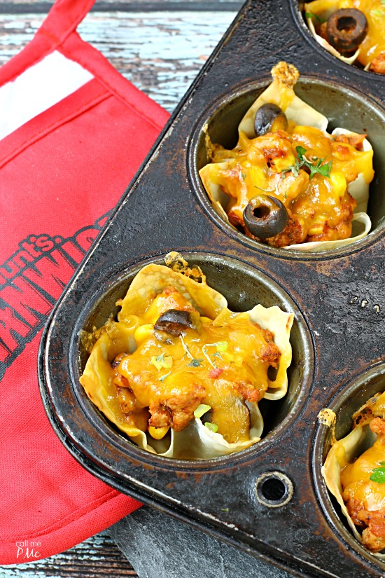 Sloppy Joe Wonton Cups Recipe - great for after school snack, parties, 30 minute meal!