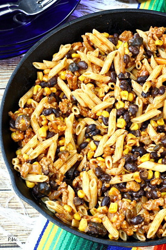 Tex Mex Skillet Pasta - 30 minute meal, easy recipe