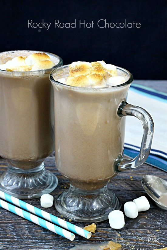 TruMoo Rocky Road Hot Chocolate with toasted Marshmallows- a campout favorite turned comfort drink! Combines your favorite chocolate and marshmallow flavors into one ready-to-serve drink