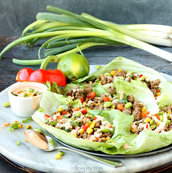Asian Lettuce Wraps with Skinny Sriracha Cream Sauce