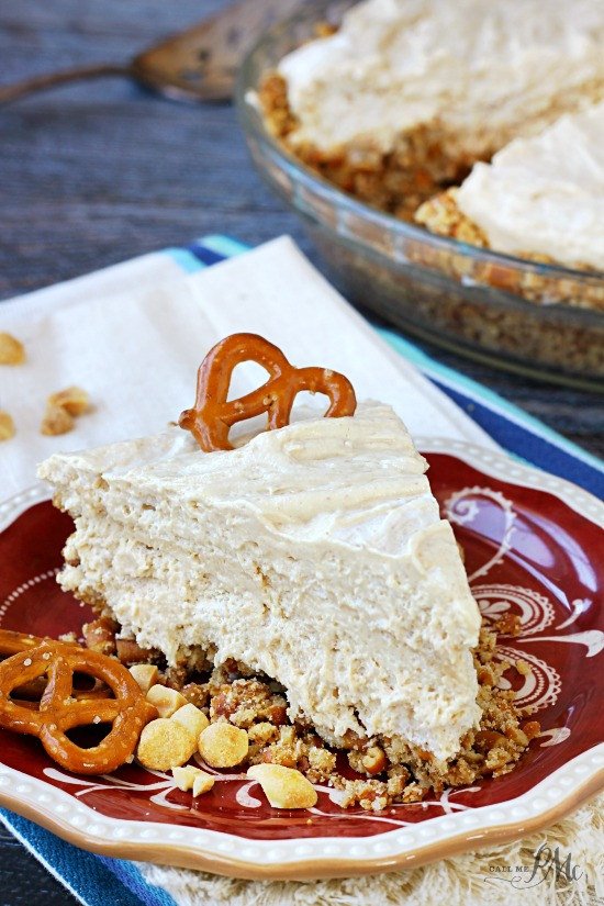 No Bake Peanut Butter Pretzel Pie