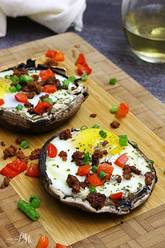 This is a very filling low cal, 30 minute meal! Paleo Stuffed Baked Eggs Portobello Mushrooms