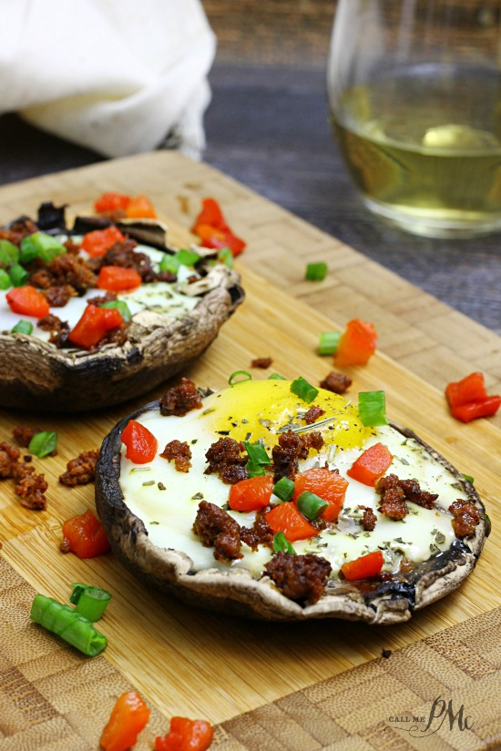 Paleo Stuffed Baked Eggs Portobello Mushrooms a hearty, low calorie and quick recipe
