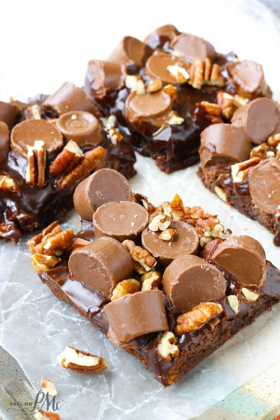 Salted Caramel Candy Brownies Recipe have a rich brownie base made with real melted chocolate