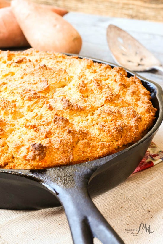 Sour cream and mashed sweet potatoes keep this Sweet Potato Sour Cream Cornbread Recipe nice and moist on the inside while still being crusty on the outside.