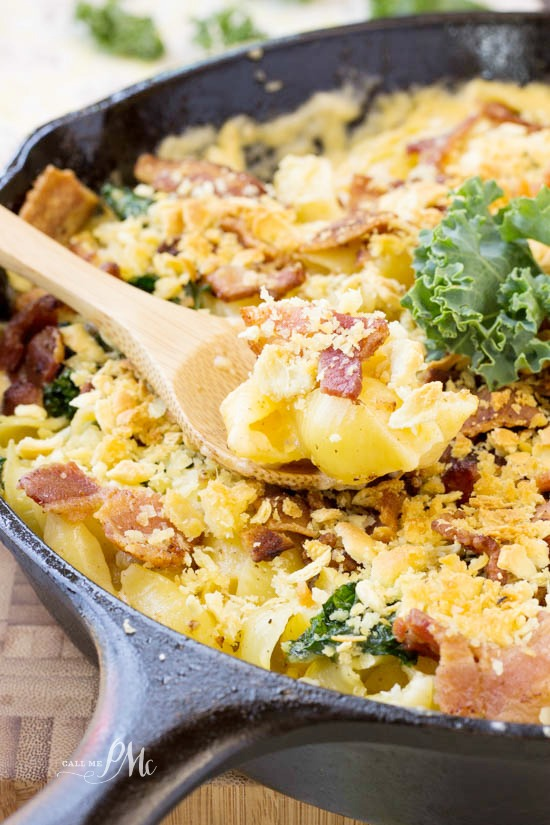 Bacon Kale Mac n Cheese this homemade recipe is full of bacon, kale and cheese!