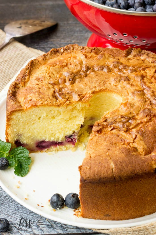 Fresh Blueberry Pound Cake Recipe, luscious and creamy, this pound cake recipe is chock full of fresh blueberries. Spiking the homemade cake with fresh lemon zest and lemon juice brightens the flavor, making it a definite keeper!
