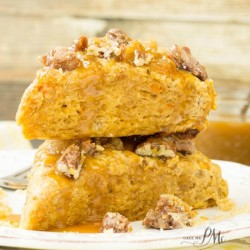 Sugared Pecan Crumble Topped Sweet Potato Scones with Caramel Sauce f