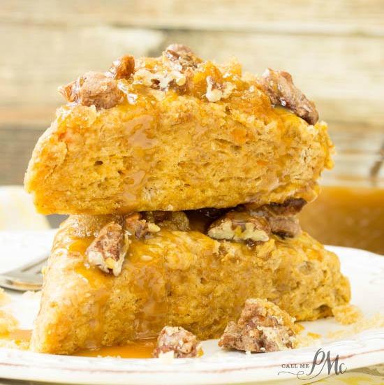 Sugared Pecan Crumble Topped Sweet Potato Caramel Scones