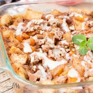 Easy Peach Cobbler Bread Pudding