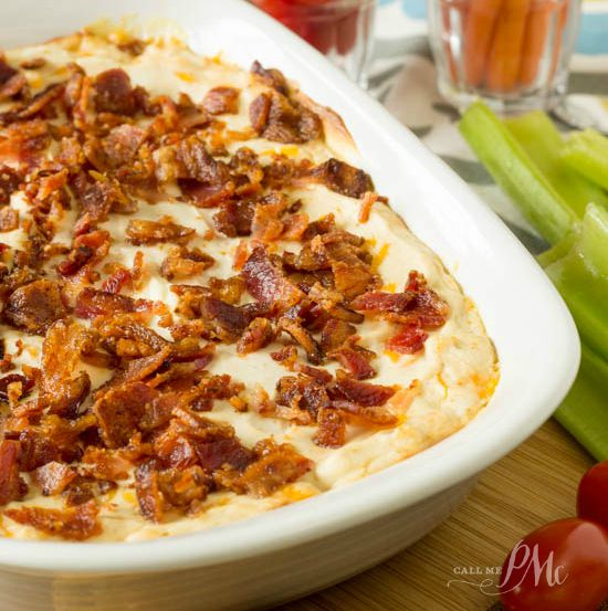 Creamy Hot Bacon Cheesy Dip Recipe is made with cream cheese, your favorite cheddar, tangy Greek yogurt and crispy bacon. This is always a favorite dip recipe and I recommend doubling the recipe!