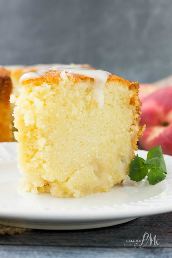 Two Step Fresh Peach Pound Cake Recipe is rich, moist and full of fresh, sweet peaches. #booze #peaches #poundcake #callmepmc #poundcakepaula #dessert #recipe #easy  via @pmctunejones