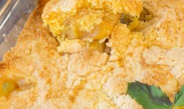 3 Ingredient Cake Mix Dump Peach Cobbler
