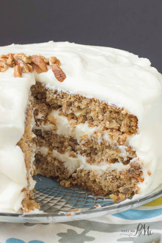 Old Fashioned Banana Layer Cake recipe with Cream Cheese Frosting is the best cake ever! #PAMCookingSpray #ad