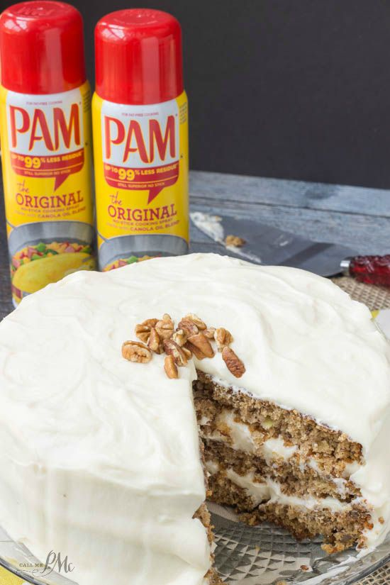 Old Fashioned Banana Layer Cake recipe with Cream Cheese Frosting is deliciously moist, full of cinnamon and encased in smooth, decadent cream cheese frosting! #PAMCookingSpray #ad