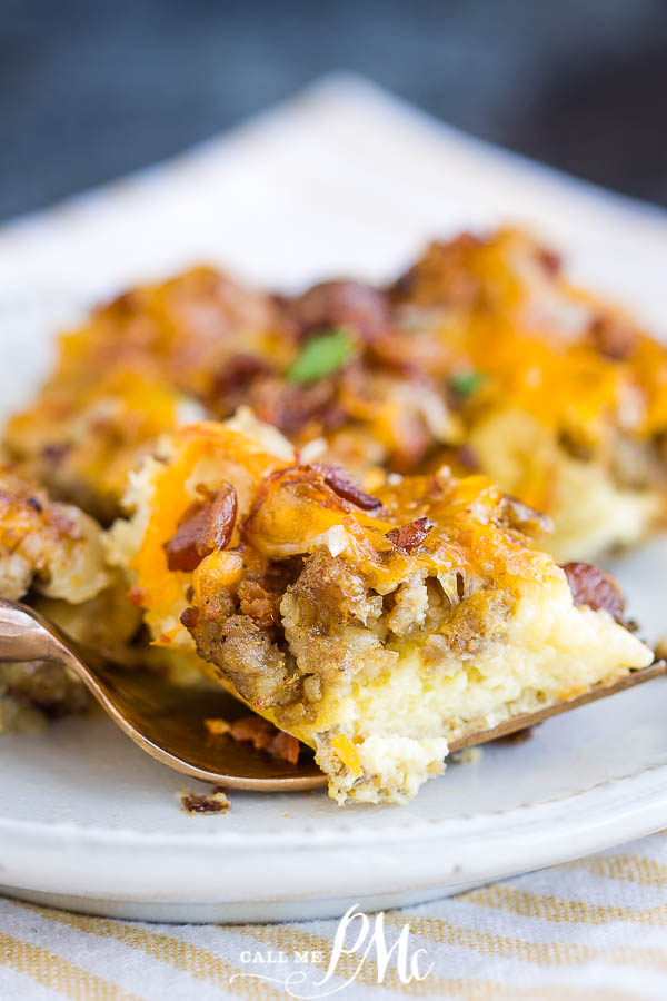 Overnight Sausage Egg Breakfast Casserole recipe is an easy to make Christmas morning or any morning family friendly easy breakfast and brunch recipe. #breakfast #brunch #recipe #casserole #sausage #cheese