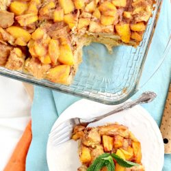Amazingly delicious, Easy Peach Cobbler Bread Pudding is full of fresh peaches, rich custard, and a hint of rum! #breadpudding #dessert #dessertrecipes #callmepmc #recipes