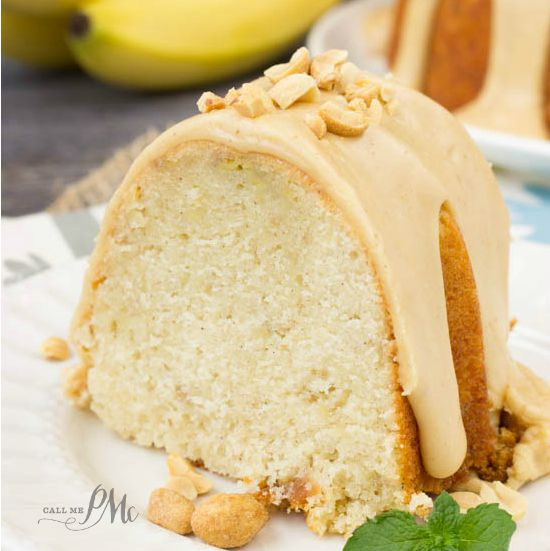 Peanut Butter Glazed Banana Pound Cake recipe
