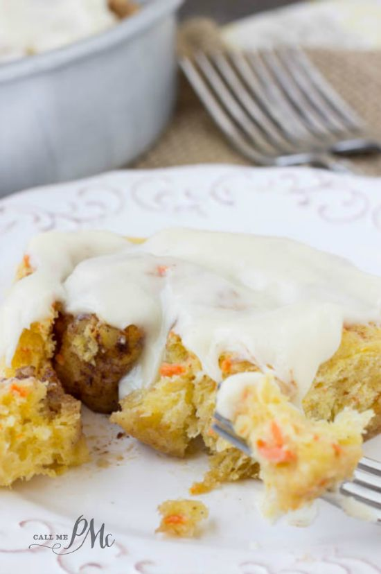 Carrot Cake Cinnamon Rolls are perfect for spring and Easter brunches! #brunch #recipe #recipes #recipeoftheday via @pmctunejones