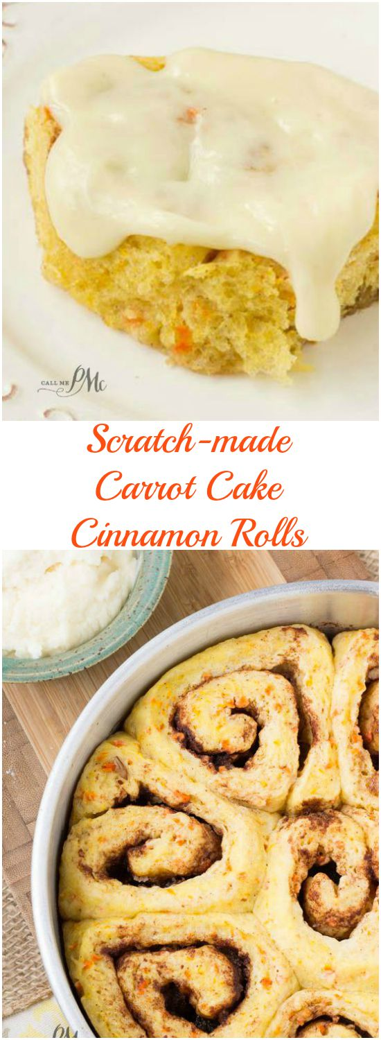 Scratch Made Carrot Cake Cinnamon Rolls with Cream Cheese Frosting recipe warm sweet rolls filled with cinnamon and butter and topped with cream cheese frosting oozing down into the warm cinnamon rolls! Great breakfast and brunch recipe.