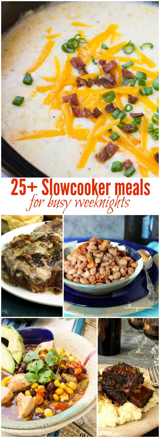 25+ Slowcooker Meals for Busy Weeknights - a whole catalog of slow cooker meals rounded up in one place! Get these easy recipes, they're easier than takeout!