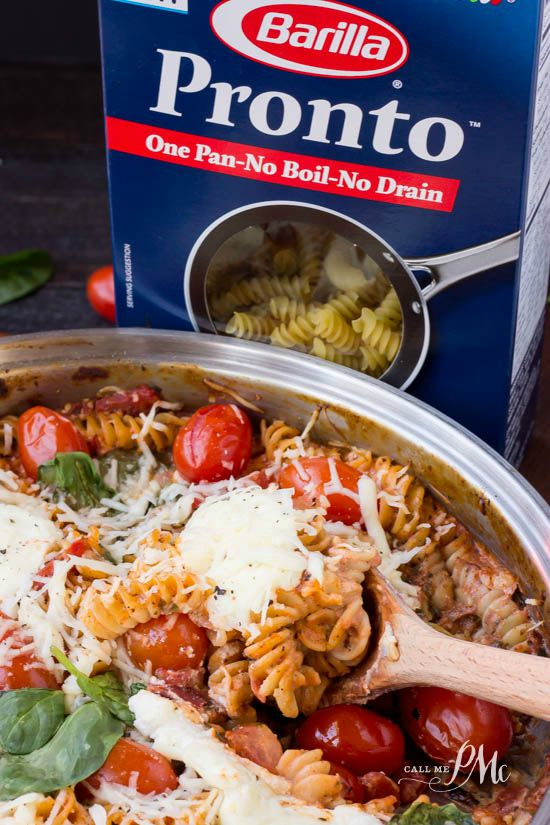 One Pan Spinach Cheese and Fire Roasted Tomato Pasta - Seriously it's so good and so easy. Just throw all of the ingredients into a pan and cook! One pot, no boil, no drain. #OnePanPronto #Ad