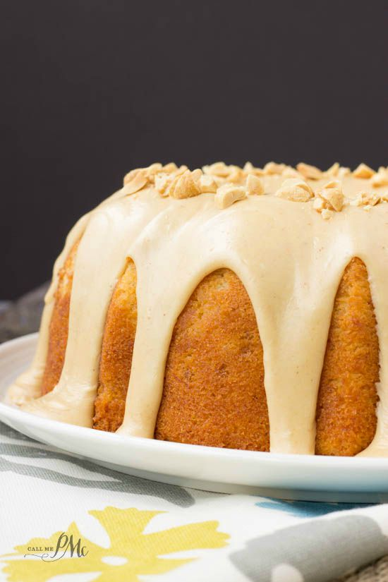Peanut Butter Glazed Banana Pound Cake recipe. A pound cake recipe made with bananas and peanut butter.