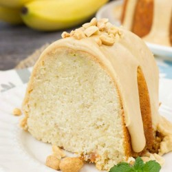 Peanut Butter Glazed Banana Pound Cake