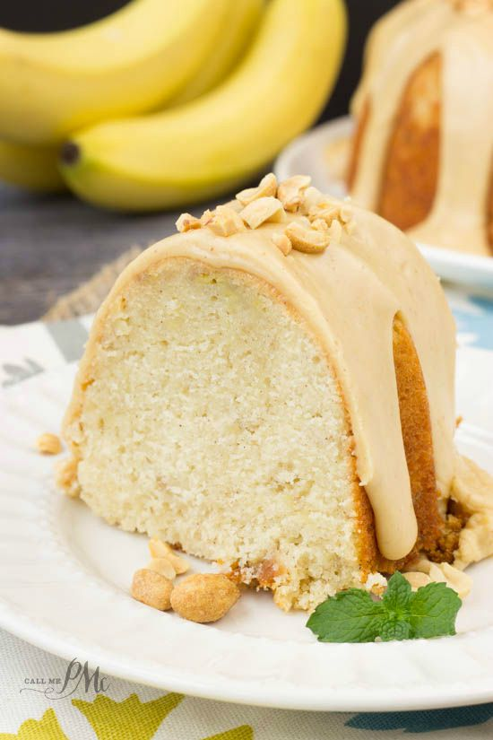 Peanut Butter Glazed Banana Pound Cake -This is a ultra-moist cake, thanks to mashed bananas. It's a real crowd-pleaser and perfect for any occasion or any season!