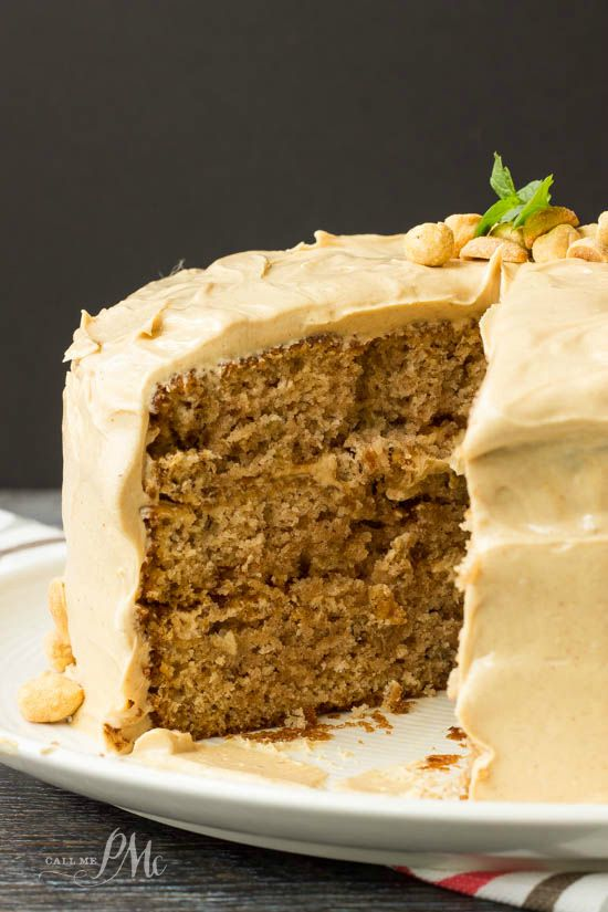 Scratch made banana cake with peanut butter frosting recipe - for the banana and peanut butter lovers in your family! They'll love you for this one!