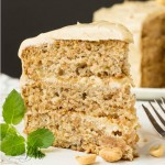 Scratch made banana cake with peanut butter frosting recipe s