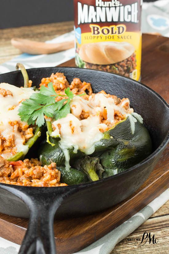 Sloppy Joe Stuffed Poblano Peppers recipe is a quick, easy and scrumptious stove-top recipe for #ad #ManwichMonday @Manwich